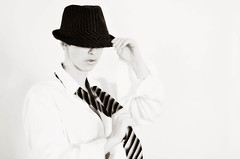All Tied Up (ThroughTamsEyes) Tags: blackandwhite selfportrait monochrome hat tie highkey fedora 365