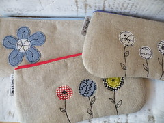 new ones ... (monaw2008) Tags: flower vintage handmade linen pouch zipper applique monaw monaw2008