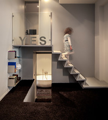 Y E S (Chimay Bleue) Tags: city france girl sign stairs french bathroom grey stair apartment lyon yes interior interieur gray staircase appartement arrondissement escalier ville 1er descending