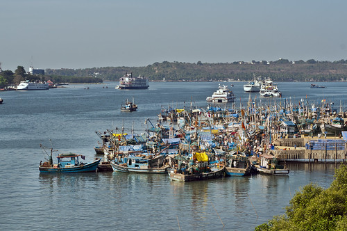 Goa - The fishing boats on the River Mandovi