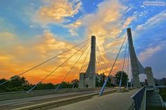 Lane Ave Bridge Sunrise (Berkehaus) Tags: bridge columbus red orange yellow clouds sunrise cable osu lane