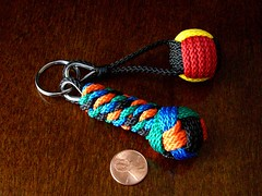 More knot work from Belgium... (Stormdrane) Tags: wood blue red orange black green yellow private key group craft knot hobby ring chain thimble receive poly trade exchange share nylon facebook fob whipping lanyard monkeyfist footrope stormdrane dominiquevantorre