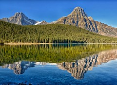 Howse Peak + Mount Chephren (Phil's Pixels) Tags: morning canada reflections explore alberta icefieldsparkway canadianrockies mountchephren howsepeak banffpark lowerwaterfalllake