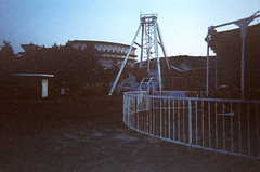 abandoned amusement park (hansyart) Tags: park pink blue sunset black abandoned film senior night dark amusement closed shot grain scene retreat grainy disposable