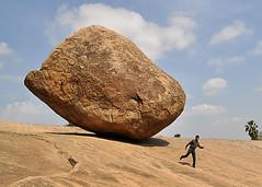 Rolling Stone! [Explored] (Bhaskar Dutta) Tags: opportunity india rock stone danger rolling mahabalipuram mamallapuram gettyimagesmiddleeast