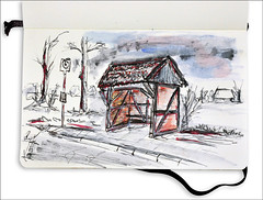 Busbude (rafaelmucha) Tags: color bus moleskine water pen ink germany notebook deutschland sketch sketchbook ddr draw deven copic aquarell rotring artpen paralell demmin busbude