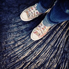 my niece Cindy in her converse chucks on cooled lava flow (Karol Franks) Tags: square hawaii lava shoes niece converse squareformat sutro karolfranks iphoneography instagramapp uploaded:by=instagram iphone4s foursquare:venue=4bfdfc6e4cf820a1ec55edf4 2014 karolfranksgmailcom