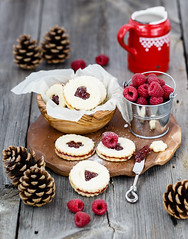 Linzer cookies with raspberry jam (Julicious) Tags: food canon table dessert baking yummy berry cookie sweet fresh homemade pastry raspberry creamer linzer foodphoto foodphotography foodstyle flickraward canon5dmarkiii