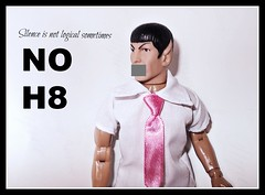 Spock. NO H8 (Taylor's Toys) Tags: pink gay art trek vintage toy star no ad tie glbt rights spock vulcan awareness mego h8 nimoy provocation