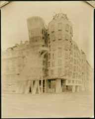 dancing house. (csant) Tags: blackandwhite bw film architecture prague 8x10 lith largeformat lithprint frankogehry verito fomapan100 wollensak fomapan dancinghouse deardorff tanol fomatonemgclassic deardorff8x10 moerschphotochemie tanol11100 wollensakverito