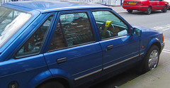 1992... (Yugo Lada) Tags: auto old blue red london ford eclipse nissan sunny retro parked 1992 1986 rare 1990 escort pimlico slx g712vuv d160rgc