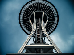 needle in space (jorin.arriola) Tags: pictures seattle blue sky white clouds 35mm fun lumix march iso200 space sunday panasonic iso explore needle spaceneedle taking 17th washingon 2013 gx1 1235mm lumixgvario1235f28 panasonic1235mm lbeckons