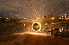 Fixed spin (Industrial Relics Photography) Tags: black wool water bicycle night river photography for bars colorado industrial time steel spin gear fork drop denver dont fixed fixie straight platte relics nasty ask polluted vilano handouts dontaskforhandouts basedfixedspin