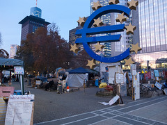 (David Chee) Tags: camp sculpture sign germany deutschland euro frankfurt ricoh ostend hesse europeancentralbank occupy grd3 occupyfrankfurt