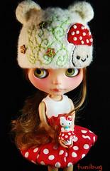 Kawaii Shrooms (tunibug) Tags: hk mushroom doll dress helmet kawaii bubble toadstool blythe elfins icantdance chinalillycustom