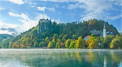 Lake Bled 4 (RiserDog) Tags: slovenia bled yugoslavia lakebled julianalps bledcastle pilgrimagechurchoftheassumptionofmary