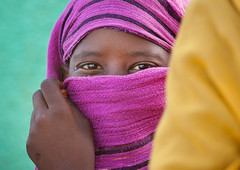 Sudanese Woman Hiding Her Face Under A Veil, Khartoum, Sudan (Eric Lafforgue) Tags: africa portrait eye smiling horizontal outdoors photography day veiled veil northafrica soedan sudan womanonly hiding multicolored niqab khartoum oneperson soudan northernafrica traditionalclothing realpeople traveldestinations colorimage onewomanonly lookingatcamera  1people szudn sudo  northernsudan northsudan      xuan ert8321