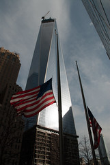 One World Trade Center, New York (~Teemu~) Tags: usa newyork nikon flag d200 oneworldtradecenter