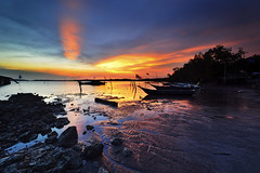 Light of Consciousness (Tuah Roslan) Tags: light sunset color beach boat fisherman asia ray village consciousness malay pasir sembilan panjang negeri