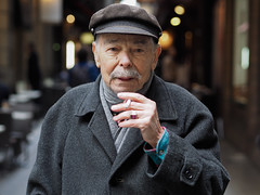 George Alt (Peter Grifoni) Tags: peter grifoni gtpete gtpete63 the human family group street stranger portrait portraiture olympus omd em1 zuiko 45mm f18 melbourne city centre lane greek george hat moustache