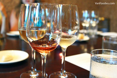 Wine Pairing (VanFoodies) Tags: eborestaurant burnaby deltaburnabyhotel grandvillacasino keithpears winepairing beefcarpaccio albacoretuna chicken salmon millefeuille freezie lamb heirloomtomato tastingmenu