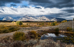 tetons national park (cuddleupcrafts) Tags: teton national park stormy mountains landscape pond trees fall image wyoming