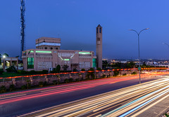 Evening Blue Hour - Islamabad (Aleem Yousaf) Tags: evening blue hour islamabad light trails long exposure photography nikon d800 1835mm traffic mosque photo walk pakistan