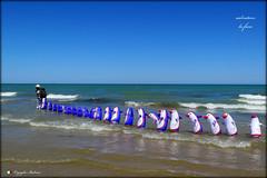 IL VENDITORE DI PINGUINI !   explore ! (Salvatore Lo Faro) Tags: mare sole cielo azzurro spiaggia onde bianco rosso blu pinguino lidodelsole rodi puglia italia salvatore lofaro canon g16