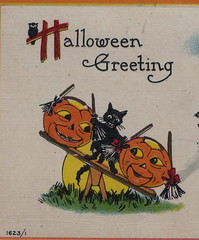 """HALLOWEEN BALANCING ACT Jack-O-Lanterns and Mischievous Black Cat know that WITCHES AND GHOSTS MUST HAVE THEIR FLING JB & Company Card 1623 C.19101 (UpNorth Memories - Donald (Don) Harrison) Tags: vintage antique postcard rppc """"don harrison"""" """"upnorth memories"""" upnorth memories upnorthmemories michigan history heritage travel tourism """"michigan roadside restaurants cafes motels hotels """"tourist stops"""" """"travel trailer parks"""" campgrounds cottages cabins """"roadside entertainment"""" """"natural wonders"""" attractions usa puremichigan"""