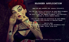 BLOGGER APPLICATION season 2016/2017 (THIS IS WRONG - tattoo design & clothes) Tags: blogger application app lookingfor applier tattoo ink makeup belleza maitreya slink signaturegianni lelutka akeruka
