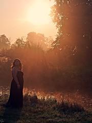 Valley of the rising Sun (Oczyma Duszy) Tags: ania ona modelka pikna kobieta sesja portret suknia ka mga rzeka wodospad bystrzyca parkkrajobrazowy dolinabystrzycy jarnotw czarnobiae monochromatyczne bw blackwhite monochromatic wife woman lady plussize model session beauty portrait dress meadow mist fog river waterfall valleylandscapepark olympusepl5 mzuikodigital seksowna sexy