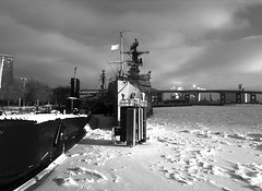 USS Little Rock-winter (moremooredesign) Tags: buffalo buffalony eriecanal usslittlerock clevelandclasdestroyer