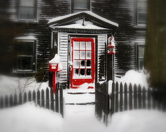 Red Door (StirlingCreative.com) Tags: red white house snow squall nemo snowstorm historic snowfall blizzard salemma windstorm 1667 stephendanielshouse thewitchcity winterstormnemo blizzardof2013 reddoorsalem