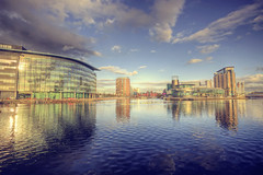 Quays - Golden Hour [Explored] (AtilaTheHun) Tags: sunset manchester golden evening canal bbc hour salford quays lowrey