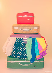 A Colorful Overpacked Mess (FulgentKlutz) Tags: travel pink blue red brown tiara color green fashion yellow photoshop vintage photography rainbow nikon 60s colorful soft purple pastel hipster tan sigma retro luggage wanderlust clothes collection polkadots adobe dresses 70s mystical dreamy 50s colourful boho collector suitcases lightroom 5x7 americantourister d90 sigmalens vintageluggage 2013 traincase sigmalenses nikond90 vintagesuitcases retroluggage sigma1750mmf28 sigma1750mmf28exdcoshsm lightroom4 sigma1750mmf28exdcos photoshopcs6 americantouristertiara faithkeay fulgentklutz vintageamericantourister