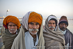 Friends (Shubh M Singh) Tags: winter portrait people india cold men water river four dawn group moustache blankets turban ganges pradesh mela sangam pilgrims allahabad uttar shawls prayag yamuna kumbh 2013 mahakumbh