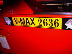 Decals On The Meyer V-Max 2636 Manure Spreader. (dccradio) Tags: wisconsin mall farming equipment machinery ag agriculture wi agricultural farmequipment farmshow marshfield farmmachinery centralwisconsin shoppesatwoodridge marshfieldmall wisconsinfarming machineryshow agshowagricultureshow