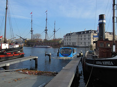 Floating Dutchman by Lovers in Amsterdam. (Harry -[ The Travel ]- Marmot) Tags: city blue urban holland bus netherlands dutch amsterdam modern vintage boats boat canal ships capital nederland vessel lovers hollands waterway waterbus scheepvaartmuseum schepen stadsarchief waterweg annasophia hoofdstad floatingdutchman