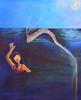 Naomi and the Flying Oar Fish (sjrankin) Tags: ocean family fish art happy acrylic edited surreal naomi oarfish naomisart 24february2013 flyingoarfish happynaomi wavingnaomi