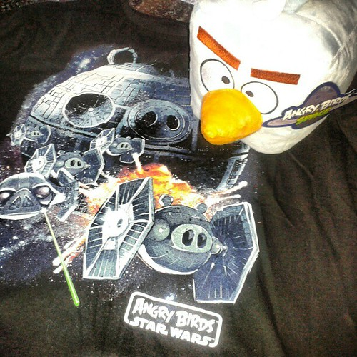 I won a contest! Angry Birds Star Wars plush toy and t-shirt. Thanks to website Lucky's Help!