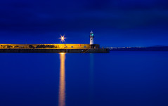 Harbour blues (snowyturner) Tags: longexposure blue light sky lighthouse reflections evening pier cornwall harbour stives gwithian