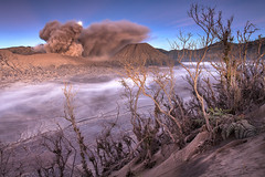 Moonset Mount Bromo (Helminadia Ranford) Tags: travel mountain nature indonesia landscape volcano smoke ash moonset bromo