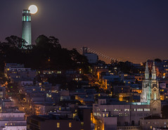 Moon Over Telegraph Hill (Eric Dugan) Tags: sanfrancisco california nikon fullmoon coittower baybridge telegraphhill lombardstreet d600 saintspeterandpaulchurch