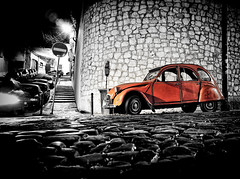 Deux Chevaux (shlomo2000) Tags: street red france rot classic portugal monochrome car wall night 35mm silver french rouge duck colorful fuji nacht lisboa lisbon citroen cobblestones deux oldtimer colored fujifilm lissabon ente nuit vignette nocturne alfama textured chevaux x100 graca efex
