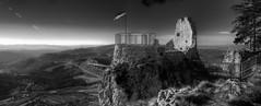 (coce) Tags: old bridge blackandwhite bw panorama landscape flag bn ponte explore slovenia flare belvedere slovenija grad borgo bianconero flares kal rudere bandiera rni rnotie rnkalski