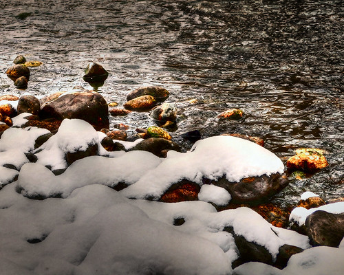 Poudre River Rocks with Snow Tonemapped