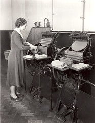 Money Order Department - overprinting machine (British Postal Museum & Archive) Tags: postoffice clerk moneyorderdepartment overprintingmachine