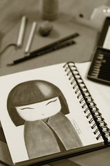 Kokeshi (Sama0s) Tags: art pencil drawing doodle artists doodles drawn japanesedolls kokeshi