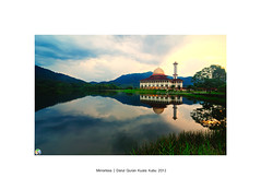 Mirrorless  | Darul Quran Kuala Kubu 2013 (SalehuddinLokman) Tags: morning mountain lake reflection sunrise photography mirror minaret mosque nikkor hitech masjid selangor nationalgeographic naturephotography morningview jakim naturalize cuticutimalaysia graduatedfilter graduatedneutraldensity nikond90 kualakububahru masjiddarulquran totalreflection hitechgnd9s