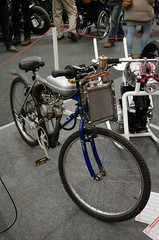 Motorized custom bicycle (The Adventurous Eye) Tags: bicycle exhibition motorcycle custom motorized motocykl 2013 motocykl2013